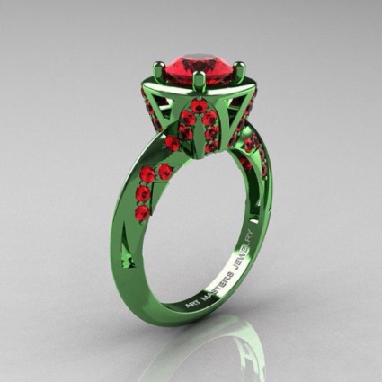 green metal ruby ring